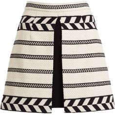 Alice + Olivia Daysi Abstract-Patterned A-Line Skirt ($77) ❤ liked on Polyvore featuring skirts, alice + olivia, saias, alice olivia skirt, white a line skirt, abstract skirt, a-line skirt and front slit skirt