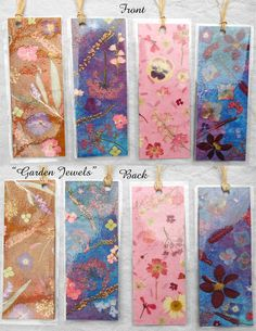 Bookmark set of 4 with Pressed Flower Art Prints by mypetalpress, $3.95