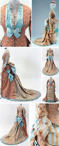Vintage Costumes Circa 1875 silk reception gown, Josephine H. Egan, New York. Via Bunka Gakuen Costume Museum, Tokyo. 1870s Fashion, Edwardian Fashion, Vintage Fashion, French Fashion, Vintage Gowns, Mode Vintage, Vintage Outfits, Vintage Costumes, Victorian Gown