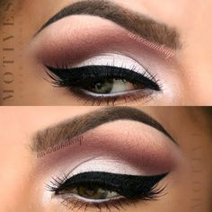 Pristine white eye shadow is applied all over the lids and defined by a brown cut crease.