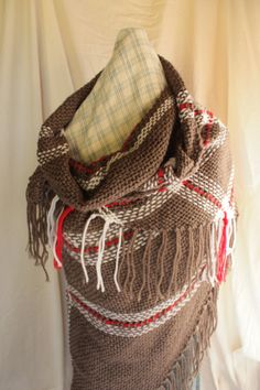 Shawl  Brown White and Red  light weight by SimplyNaturalDesigns, $85.00