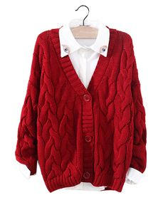 Red Chunky Cable Knit Cardigan ST0230042-1