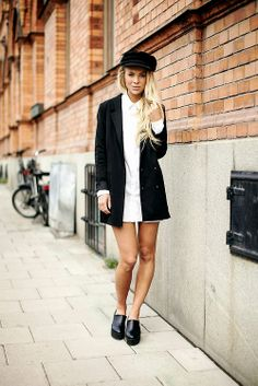 black & white / cap / chunky platform shoes / cap / spring look