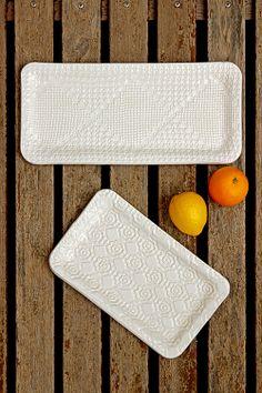 """RANDA"" Set of Two Ceramic Platters. http://www.greetingsfrommallorca.com/en/products/for-home/crochet-ceramic-platters"