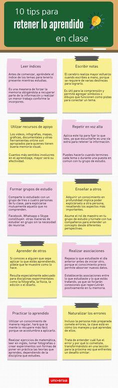 10 tips para retener lo aprendido en clase (infografía)