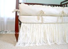 **To purchase the crib skirt alone, go here: https://www.etsy.com/listing/191217453/ivory-lace-crib-skirt    The perfect bedding for your