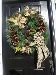 Winter Farmhouse Wreath Sugar Pine Cone Wreath XL Fireplace