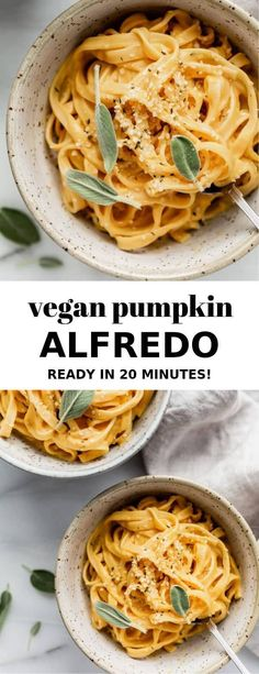 This vegan pumpkin alfredo will be your favourite fall recipe! It's made with a … This vegan pumpkin alfredo will be your favourite fall recipe! It's made with a cashew cream sauce that's easy to make and full of pumpkin and fall spices! Pumpkin Pasta, Vegan Pumpkin, Pumpkin Recipes, Fall Recipes, Dinner Recipes, Cinnamon Recipes, Autumn Recipes Vegan, Pumpkin Pumpkin, Pumpkin Puree
