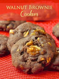 Walnut Brownie Cookies - An easy drop cookie with all of the flavour of a great walnut brownie. Perfect with a tall glass of cold milk.