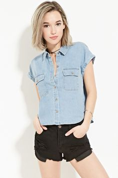 Forever 21 is the authority on fashion & the go-to retailer for the latest trends, styles & the hottest deals. Shop dresses, tops, tees, leggings & more! Colorful Fashion, Boho Fashion, Fashion Dresses, Chambray, Pretty Outfits, Cute Outfits, Pretty Clothes, Outfits Con Camisa, University Style