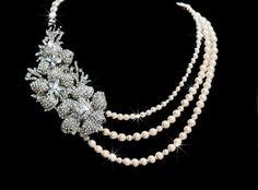 Fresh Bloom Swarovski crstal and pearl triple strand bridal necklace