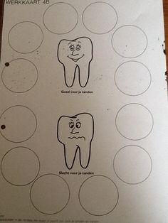 Wat is goed en niet goed voor je tanden. Plak dingen uit bladen op elke cirkel.