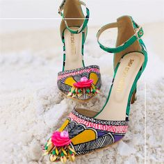 Stunning and quirky bridal footwear for a complete bridal look! White Heels, Pink Heels, Shoes Heels, Flats, Pencil Heels, Green Print, Western Outfits, Party Shoes, Bridal Looks