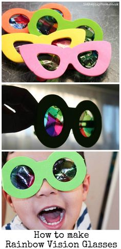 How to make diy rainbow vision glasses for kids! Great Rainy Day activity for kids!