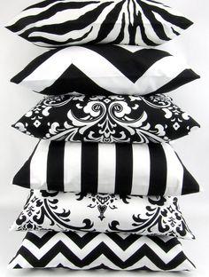 BLACK and WHITE Pillow cover you pick zigzag chevron damask ozborne traditions stripe canopy zebrathrow cushion sham Premier Prints on Etsy,