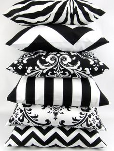 BLACK and WHITE Pillow cover 18x18 you pick zigzag chevron damask ozborne traditions stripe canopy zebrathrow cushion sham Premier Prints on Etsy, $20.00