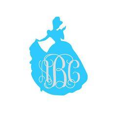"Princess Glossy Vinyl Monogram- Custom Colors- Indoor/Outdoor Vinyl- Car Monogram- 3"" 4"" 5"" 6""- Cinderella"