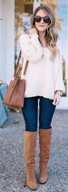 White V-neck Knit / Navy Skinny Jeans / Brown OTK Boots / Brown Leather Tote Bag