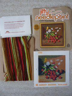 Cherries Needlepoint Kit Jiffy 1979 by by BonniesVintageAttic