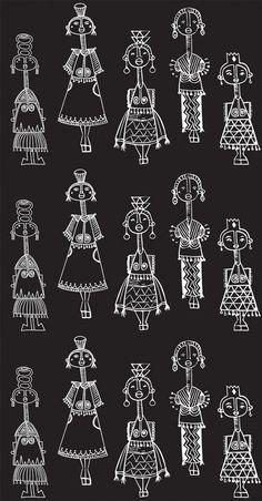 Folk Embroidery Tutorial The Jungalow Madhubani Art, Madhubani Painting, Worli Painting, Fabric Painting, Pencil Art Drawings, Art Drawings Sketches, Drawing Designs, Easy Drawings, Arte Tribal