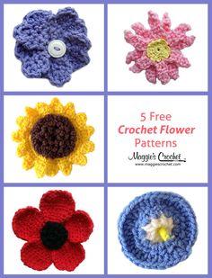 5 Free Crochet Flower Patterns - love the poppy flower and sunflower Crochet Puff Flower, Knitted Flowers, Crochet Flower Patterns, Crochet Motif, Crochet Designs, Crochet Yarn, Crochet Stitches, Free Crochet, Learn Crochet