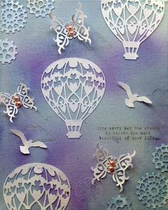 From our Design Team! Canvas by Cathi Smith O'Neill featuring Beautiful Day Sentiments, Sunny Day Background Elements and these Dies - Birds Die , Steampunk Hearts Cog Dies , Hot Air Balloon Die , Decorative Corner Die :-) Shop for our products here - shop.lalalandcrafts.com  More Design Team inspiration here - http://lalalandcrafts.blogspot.ie/2015/09/wednesday-inspiration-decorate-corners.html