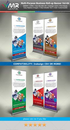 Multipurpose Business RollUp Banner Vol04 — InDesign INDD #creative roll-up #roll-up banners • Available here → https://graphicriver.net/item/multipurpose-business-rollup-banner-vol04/5501313?ref=pxcr