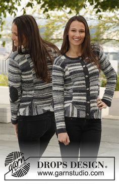 "Knitted DROPS jacket with short rows in ""Fabel"". ~ DROPS Design"