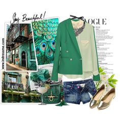 She laughs as she dances her feet wake the flowers She comes a now running thru our gloomy town Yes Jade is the Girl of the hour Verde Jade, My Favorite Color, Autumn Fashion, Denim Shorts, Suit Jacket, Dance, Running, My Style, Polyvore