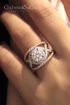 Gabriel NY - Voted #1 Most Preferred Fine Jewelry and Bridal Brand. 18k White/Rose Gold Round Split Shank  Engagement Ring