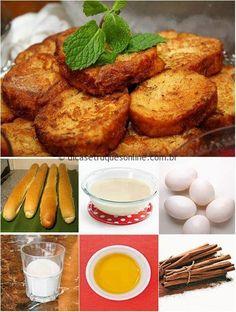 Ingredientes 1 lata de leite condensado; 1 colher (chá) de essência de baunilha (opcional) 2 pães para rabanada; 3 ou 4 ovos grandes (bem batidos); Açúcar e canela em pó (para
