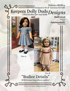 PDF Pattern #KDD14 Bodice Details with two views, plus bonus long sleeve option!    ORIGINAL KeepersDollyDuds DESIGN! To follow and be notified