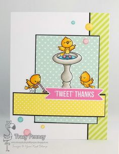 Stamps: Word Critter - Gardening Birds (Your Next Stamp) Dies: Scrapworks Strips (Your Next Stamp) Paper: Lawn Fawn Let's Polka in the Meadow Other: Magical Pastel Gumdrops