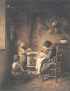 Looking after the baby by Pierre Edouard Frère