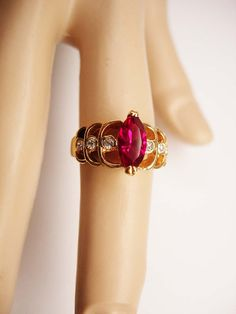 Faux Ruby Cocktail Ring Vintage jeweled by NeatstuffAntiques, $30.00