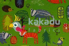 Úplety s potiskem   Úplet Zvířátka z našeho lesa na zelené   Kakadu fabrics