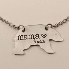 Mama Bear Necklace - Bronze, Copper or Aluminum