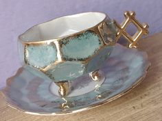 Antique 1950's Royal Halsey footed tea cup set, blue green tea cup,
