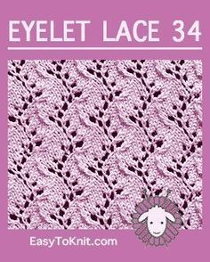Travelling Vine Stich, Easy Eyelet Lace Pattern - Stricken Ideen Traveling Vine stitch, Easy Eyelet Lace Pattern Record of Knitting Wool rotating, weaving an. Lace Knitting Stitches, Lace Knitting Patterns, Knitting Charts, Loom Knitting, Free Knitting, Stitch Patterns, Knitting Machine, Lace Patterns, Scarf Patterns