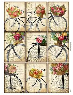 Antique bicycle with basket of roses digital collage sheet so .- Antique Bicycle with Basket of Roses digital collage by GalleryCat - Images Vintage, Vintage Tags, Vintage Labels, Vintage Paper, Vintage Prints, Vintage Retro, Printable Vintage, Vintage Bicycle Art, Paper Art