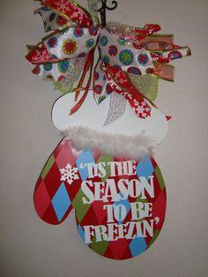 Christmas Mitten Door Hanger/Wall Hanger by thepaisleypetalvegas, $30.00