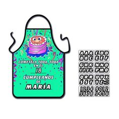 DELANTAL TARTA UNISEX.  Fantástico delantal unisex personalizable con las letras y los números adhesivos incluidos. CONSULTA PRECIOS EN REUNIONES http://www.sexfrodisia.com/delantales/11621-delantal-tarta-unisex.html