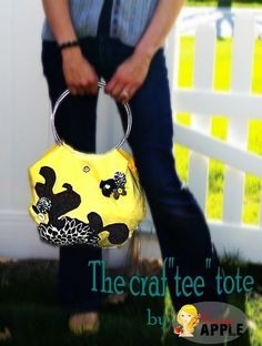 Cute bag made from t-shirt and embroidery hoops.