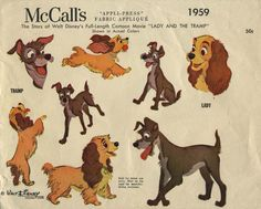 Vintage Sewing Pattern for Lady and the Tramp Fabric Appliques | McCall's 1959 | Year 1955 |  © Walt Disney Productions