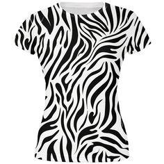Zebra Print White All Over Juniors T-Shirt