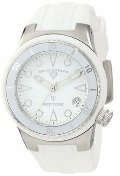 Swiss Legend Women's 11840D-02-WHT Neptune White Dial White Silicone Watch Swiss Legend. $118.50. Date window at 4:00. White dial with silver tone and white hands and hour markers; luminous; unidirectional stainless steel bezel with white top ring; screw-down stainless steel crown. Sapphitek crystal; stainless steel case with white silicone cover; white silicone strap with logo. Water-resistant to 100 M (330 feet). Swiss quartz movement. Save 70% Off!