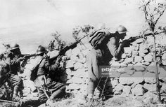 Greek soldiers push the invading Italian army back into Albania during World War II, 1st December 1940.