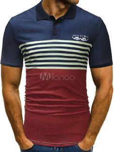 Men Polo Shirt Stripe Color Block Cotton Top Slim Fit Short Sleeve T Shirt Casual