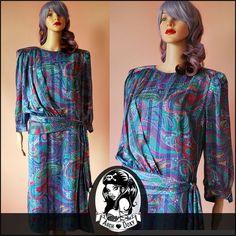 ❤ Vintage 1980s Designer Fink Modelle Silk Psychedelic Flapper Paisley Dress 16   £17.00 (4B)