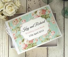 classic personalised wedding guest book vintage floral
